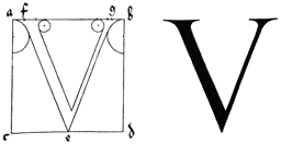 woodcut of the letter V